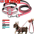 Cute Bling Rhinestone Dog Suede Leather Harness and Leads Soft Leash Puppy S M L
