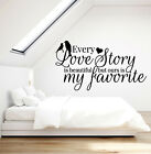 Vinyl Wall Decal Romantic Love Story Word Quote Birds Bedroom Stickers (g1100)