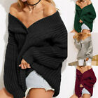 Womens Off The Shoulder Sweaters Fall Oversized Cable Knit Pullover Jumper GIFT
