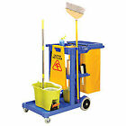 Janitor Cart Blue with 25 Gallon Vinyl Bag, Lot of 1