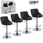 Set Of 4 Bar Stools Leather Adjustable Pub Chair Swivel Dining Lounge Counter US