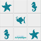 Seahorse Fish Starfish Tile Stickers Bathroom Nautical Vinyl Wall Car Decal