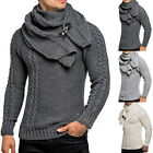 Men Neck Pullover Sweaters Autumn Slim Fit Long Sleeve Cable Knitwear with Scarf