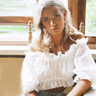 Women Off Shoulder Lace Babydoll Top Puff Sleeve Summer Holidey Tee Shirt Blouse