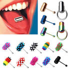 Punk Women Men Vibrating Tongue Ring Stud Body Piercing Jewelry With 2 Batteries image
