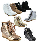 Women's Lace Up High Top Glitter Round Toe Wedges Sneaker Shoes Size 5 - 11 NEW