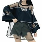 Woman Summer Street Fashion Oversize See Through Top Style Mesh Perspective T-sh