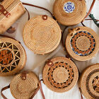 Women Hand Woven Round Rattan Straw Bag Bali Boho Shoulder Bag Crossbody Handbag