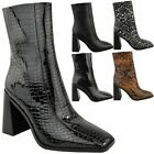 Womens Ladies Block High Heel Ankle Boots Black Faux Leather Smart Work Casual