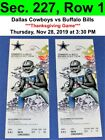 Two (2) Dallas Cowboys vs Buffalo Bills Tickets Sec. 227, Row 1, GREAT VIEW! on eBay