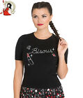 HELL BUNNY BISOUS TOP kisses knitted STRETCH RIBBED black XS-4XL