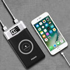 US Qi Wireless 10000mAh LCD Power Bank 2USB LED Battery Charger For Cell Phone