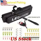Telescopic Fishing Rod Fishing Reel Full Kit Spinning Reel Pole Hook Lure Bag US