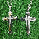Men Women Cross Pendant Necklace Stainless Steel Unisex Crucifix With Chain
