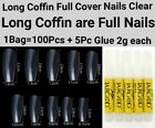 100/600/1200 Pcs Long Coffin Full Cover Artificial False Nail Tips-Natural/Clear