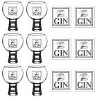Gin Glasses Coasters Ladies' Gift Set 540ml Goblets Cork Mats 12pc