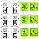 Gin Glasses Coasters Gentlemen's Gift Set 540ml Goblets Cork Mats 12pc