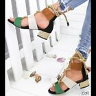 New Fashion Women Heel Pointed Toe Sandals Hemp Rope Lace Up Platform