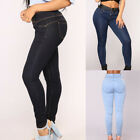 Women Denim Jeans Casual Pencil Pants Pleated Stretch Elastic Waist Trousers