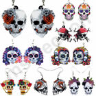 Skull Earrings Dangle Halloween Sugar Skulls Party Jewellery Girls Ladies 1 Pair