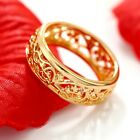 18k Plain Gold Filled Celtic Filigree Engagement Wedding Annviersary Band Ring
