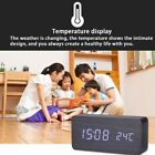 HOT Wooden Alarm Clock LED Screen Display Time Voice Touch Control Digital Clock