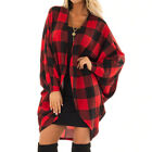 Women's Plaid Loose Coat Long Sleeved Checked Cardigan Open Front Draped Jacket