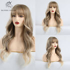 Lady Blonde Wavy Synthetic Hair Long Straight Curly Full Women Wigs with Bangs