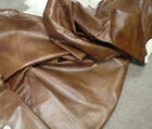 BR809 Leather Cow Hide Cowhide Upholstery Craft Fabric Distressed Brown Brahma