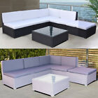 Courtyard Garden Patio Furniture Set Rattan Glass Coffee Table Chair Corner Sofa