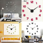 US 3D Large Wall Clock Frameless Mirror Number Sticker Decal Decor Modern Art