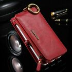 For iPhone XR&Samsung Luxury Genuine Leather Flip Zipper Wallet Phone Case Cover
