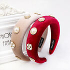 Women's Pearl Hairband Padded Headband Velvet Crystal Hair Band Hoop Accessories