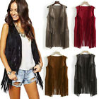 Women Suede Ethnic Sleeveless Tassel Fringed Vest Cardigan Waistcoat Outwear Top