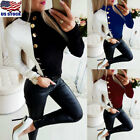 Womens Turtleneck Long Sleeve Tops Ladies Casual Buttons Slim Fit T Shirt Blouse