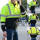 Mens Thick Safety Jacket Reflective High Visibility with Detachable Hood Outwear