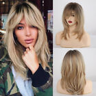 Brown Mixed Natural Blonde Wavy Ombre Synthetic Hair Wigs With Bangs For Women