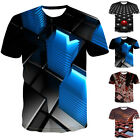 Men Casual Summer Round Neck T Shirts 3D Printed Blouse Slim Fit Plus Size Tops