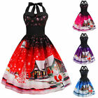 Christmas Womens Halter Swing Dress Sleeveless Fancy Printed Lace Up Retro Midi