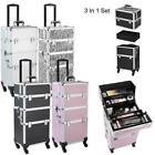 3 in1 Makeup Cosmetic Case Tattoo Nail Train Box Salon Organizer Rolling Wheels