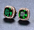 Faux Ruby Emerald Mystic Rainbow Cluster Earrings 925 Sterling Silver Filled CZ