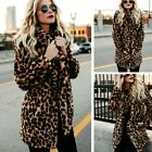 Women's Winter Warm Leopard Faux Fur Coat Jacket Long Sleeve Outerwear Overcoats