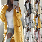 Women Casual Long Sleeve Knitted Cardigan Sweater Solid Open Front Overcoat Coat