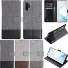 For Samsung Galaxy S20 Ultra/S10/Note 10 Plus Canvas Wallet Folding Case Cover