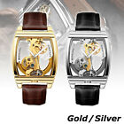 Men Skeleton Mechanical Wrist Watch Classic Flywheel Leather Band Wristwatch image