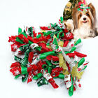 20/100pcs Christmas Dog Hair Bows Green Red Rubber Band Clip Holiday Accessories