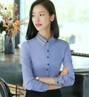 Women Fashion clothes cotton long sleeve shirt autumn black slim blouse office l