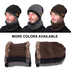 1Set Unisex  winter Warm Knitted Hat and Circle Scarf with Fleece Lining UK