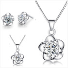 Boxed Uk Sterling Silver Crystal Jewellery Set
