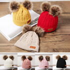 Double Plush Ball Hat Winter Knitted Kids Hat Warm Thicker Infant Beanie Caps 02